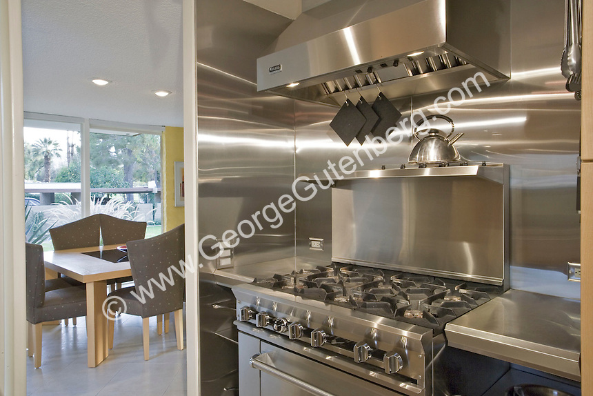 Stock photo of residential kitchen Stock photo of kitchen in mid-century modern home