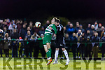 Peter McCarthy uses his chest to hold up the ball for his team mates against Jamesboro in the FAI cup quarter final in Celtic Park Saturday night