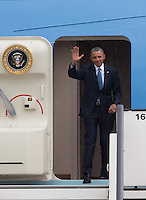 Barack Obama arrives at military airport in Melsbroek, Brussels to attend the G7 Summit - Belgium