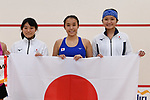 -R)  Risa Sugimoto, Misaki Kobayashi,  Satomi Watanabe (JPN), <br /> AUGUST 27, 2018 - Squash : Women's team Pool A match between Japan - Philippines at Gelora Bung Karno Squash Stadium during the 2018 Jakarta Palembang Asian Games in Jakarta, Indonesia. <br /> (Photo by MATSUO.K/AFLO SPORT)