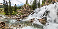 Wyoming waterall panorama.  Granite Creek Falls high in the Gros Ventre Mountains. <br />