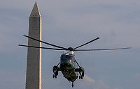 Marine One, with United States President Donald J. Trump and first lady Melania Trump aboard, makes its way towards the South Lawn of the White House in Washington, D.C., U.S., on Sunday, August 4, 2019.    <br /> CAP/ADM/CNP/TK<br /> ©TK/CNP/ADM/Capital Pictures