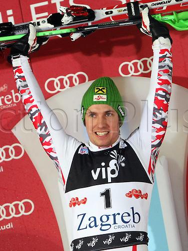 05.01.2012 Zagreb, Croatia.  Ski Alpine FIS World Cup Slalom the men Night slalom Award Ceremony Picture shows Marcel Hirscher AUT