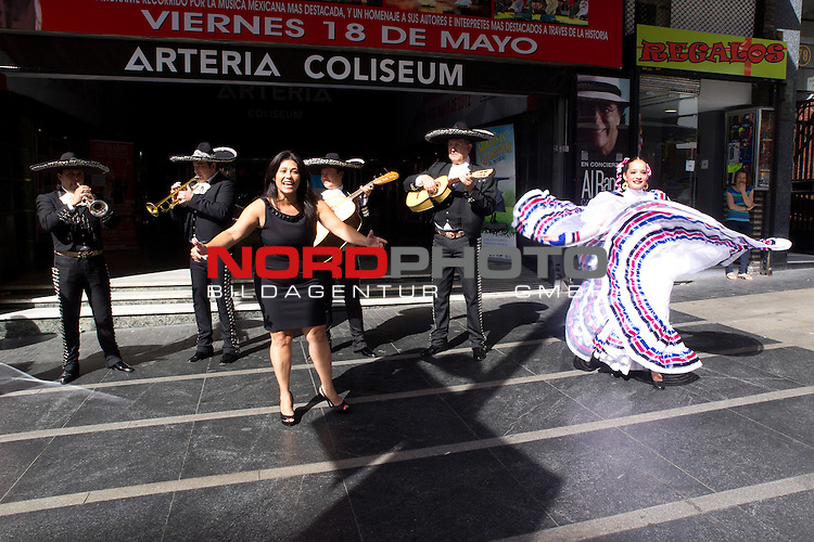 """16.05.2012. Josefina AlemŠn  accompanied by her mariachis and Ballet Colors of Mexico, presented in front of the Teatro Arteria Coliseum, in the Gran VŪa of Madrid, the concert """"Musical Tribute to Mexico"""" Foto © nph / Marta Gonzalez) *** Local Caption ***"""