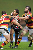 Augustine Pulu gets taken in a sandwich tackle by Ben May and Toby Lynn. ITM Cup round 6 rugby game between Counties Manukau Steelers and Waikato, played at Bayer Growers Stadium pukekohe on Sunday August 7th 2011. Waikato won 22 - 15.