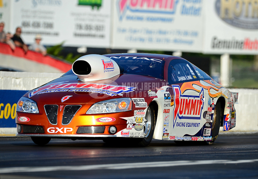 May 4, 2012; Commerce, GA, USA: NHRA pro stock driver Jason Line during qualifying for the Southern Nationals at Atlanta Dragway. Mandatory Credit: Mark J. Rebilas-