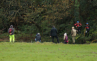 Pictured: Relatives and friends join rescuers on the banks of river Ogmore near Stormy Down, Wales, UK. Tuesday 22 November 2016<br /> Re: The search has resumed for Russell Sherwood, 69, who went missing in river Ogmore, Bridgend County on Sunday.<br /> Sherwood, of Cilfrew, Neath, was heading for Ewenny in the Vale of Glamorgan during heavy rain in the morning but never arrived.<br /> He disappeared at Stormy Down and car parts were found on the river bank.<br /> South Wales Police have confirmed registration plates recovered from a bumper match Mr Sherwood's car.