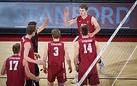 STANFORD, CA - March 14, 2019: Jordan Ewert, Kyle Dagostino, Eric Beatty, Paul Bischoff, Kyler Presho, Eli Wopat at Maples Pavilion. The #8 Stanford Cardinal fell to the #6 Pepperdine Waves 3-0.