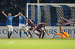 St Johnstone v Hearts.....18.01.14   SPFL<br /> Dale Carrick scores to make it 2-1<br /> Picture by Graeme Hart.<br /> Copyright Perthshire Picture Agency<br /> Tel: 01738 623350  Mobile: 07990 594431