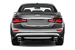 Straight rear view of 2016 Infiniti Q70 Hybrid 4 Door Sedan Rear View  stock images