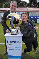 Chris Kemp and Jackie Van Tran (OFC) with the trophy before the Oceania Football Championship final (second leg) football match between Team Wellington and Auckland City FC at David Farrington Park in Wellington, New Zealand on Sunday, 7 May 2017. Photo: Dave Lintott / lintottphoto.co.nz