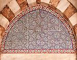 Iznik 06 - Tympanum over doorway decorated with geometric patterned Iznik tiles, Mausoleum of Sultan Murad III, Aya Sofya, Sultanahmet, Istanbul, Turkey