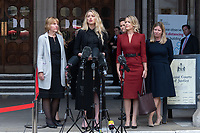London, UK - 28 July 2020<br /> Amber Heard gives statement outside The Royal Courts of Justice, with Lawyer Jennifer Robinson (on her left) at libel trial against The Sun, a British tabloid newspaper.<br /> CAP/JOR<br /> ©JOR/Capital Pictures