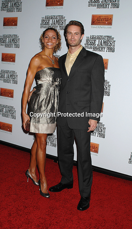 "Michelle Hurd and husband Garret Dillahunt..arriving at The US Premiere of""The Assassination of Jesse ..James by the Coward Robert Ford"" on September 18, 2007 at The Ziegfeld Theatre in New York. ..Robin Platzer, Twin Images....212-935-0770"