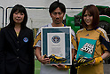 Jun. 19, 2010 - Tokyo, Japan - Masakiyo Maezono receives an award for the Guiness World Records. To liven up the 2010 FIFA World Cup, a demonstration of the Castrol Ichi-Go with Adidas' PREDATOR X shoe installed in the foot of the machine, takes place at Samurai Blue Park. The 'Castrol Ichi-Go' is the world's first engine-driven fastest kicking machine with super human power. Equipped with a steel leg, this kicking machine is capable of delivering a free in excess of 200 km/h per hour.
