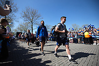 George Ford and the rest of the Bath Rugby team make their way to the stadium. The Clash, Aviva Premiership match, between Bath Rugby and Leicester Tigers on April 8, 2017 at Twickenham Stadium in London, England. Photo by: Rogan Thomson / JMP for Onside Images
