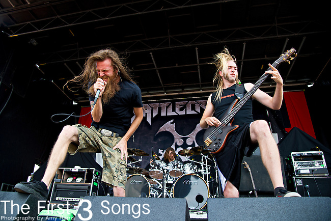 Kyle Gunther and Don Slater of Battlecross perform during the 2013 Mayhem Festival at Klipsch Music Center in Indianapolis, Indiana.