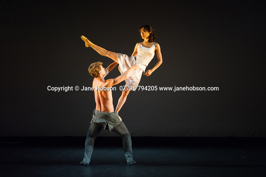 London, UK. 21.05.2014. English National Ballet present CHOREOGRAPHICS, a programme of new works from members of the company. This piece is IN LIVING MEMORY, choreographed by James Streeter. Dancers are: Erina Takahashi, James Forbat, Nathan Young. Photograph © Jane Hobson.