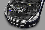 High angle engine detail of 2012 Peugeot 508 SW Allure Wagon Stock Photo