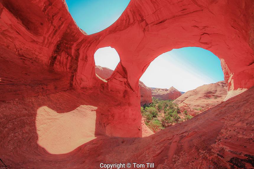 Spider Web Arch, Monument Valley Tribal Park, Arizona  Hunts Mesa, Triple arch in De Chelly sandstone