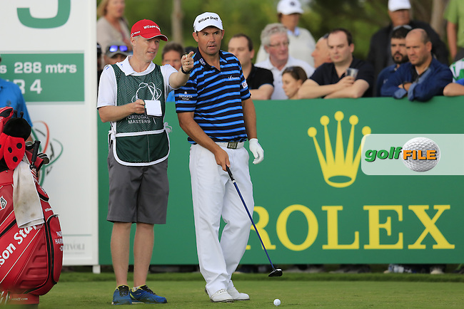 Padraig Harrington (IRL) and caddy Ronan Flood on the 15th tee during Sunday's Final Round of the 2016 Portugal Masters held at the Oceanico Victoria Golf Course, Vilamoura, Algarve, Portugal. 23rd October 2016.<br /> Picture: Eoin Clarke | Golffile<br /> <br /> <br /> All photos usage must carry mandatory copyright credit (&copy; Golffile | Eoin Clarke)