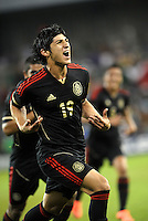 Alan Pudio (19) Mexico celebrates his goal... Mexico defeated Canada 3-1 in Olympic Qualifying semi final at LIVESTRONG Sporting Park, Kansas City, Kansas.