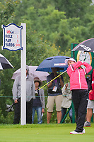Ai Miyazato (JPN) watches her tee shot on 1 during Friday's second round of the 72nd U.S. Women's Open Championship, at Trump National Golf Club, Bedminster, New Jersey. 7/14/2017.<br /> Picture: Golffile | Ken Murray<br /> <br /> <br /> All photo usage must carry mandatory copyright credit (&copy; Golffile | Ken Murray)