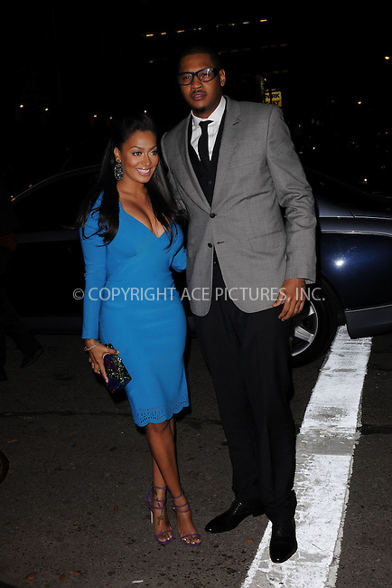 WWW.ACEPIXS.COM . . . . . .November 14, 2011...New York City....LaLa Anthony and Carmelo Anthony attend the 8th Annual CFDA Vogue Fashion Fund Awards at the Skylight SOHO on November 14, 2011 in New York City.....Please byline: KRISTIN CALLAHAN - ACEPIXS.COM.. . . . . . ..Ace Pictures, Inc: ..tel: (212) 243 8787 or (646) 769 0430..e-mail: info@acepixs.com..web: http://www.acepixs.com .