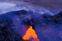 Lava flow under rock archway at Hawaii volcanoes national park, Big island