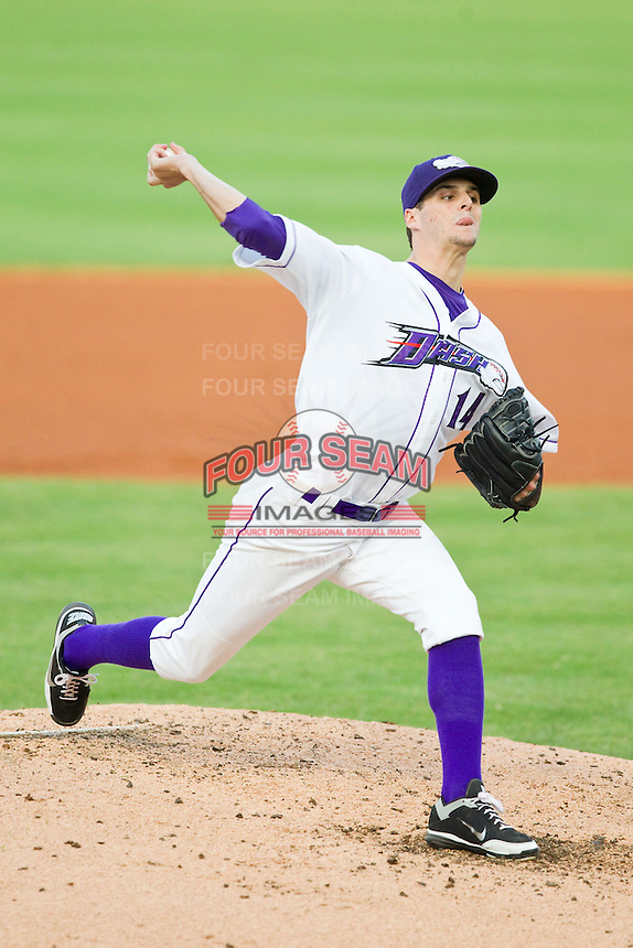 at BB&T Ballpark on July 25, 2013 in Winston-Salem, North Carolina.  The Mudcats defeated the Dash 5-4.  (Brian Westerholt/Four Seam Images)