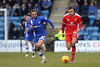 Dele Alli of MK Dons in possession as Gillingham's Bradley Dack looks on during Gillingham vs MK Dons, Sky Bet League One Football at the MEMS Priestfield Stadium on 14th February 2015