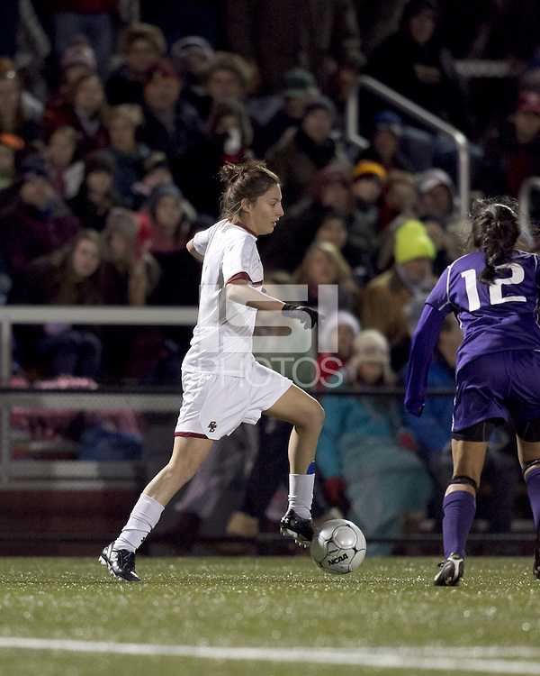 "Boston College forward Victoria DiMartino (1) controls the ball. In overtime, Boston College defeated University of Washington, 1-0, in NCAA tournament ""Elite 8"" match at Newton Soccer Field, Newton, MA, on November 27, 2010."