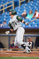 Fort Wayne TinCaps second baseman Chase Jensen (24) at bat during a game against the Lake County Captains on May 20, 2015 at Classic Park in Eastlake, Ohio.  Lake County defeated Fort Wayne 4-3.  (Mike Janes/Four Seam Images)
