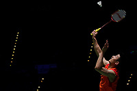 13th March 2020, Arena Birmingham, Birmingham, UK;  China s Chen Long returns a shot during the men s singles quarterfinal match with Malaysias Lee Zii Jia at the All England Open Badminton Championships in Birmingham