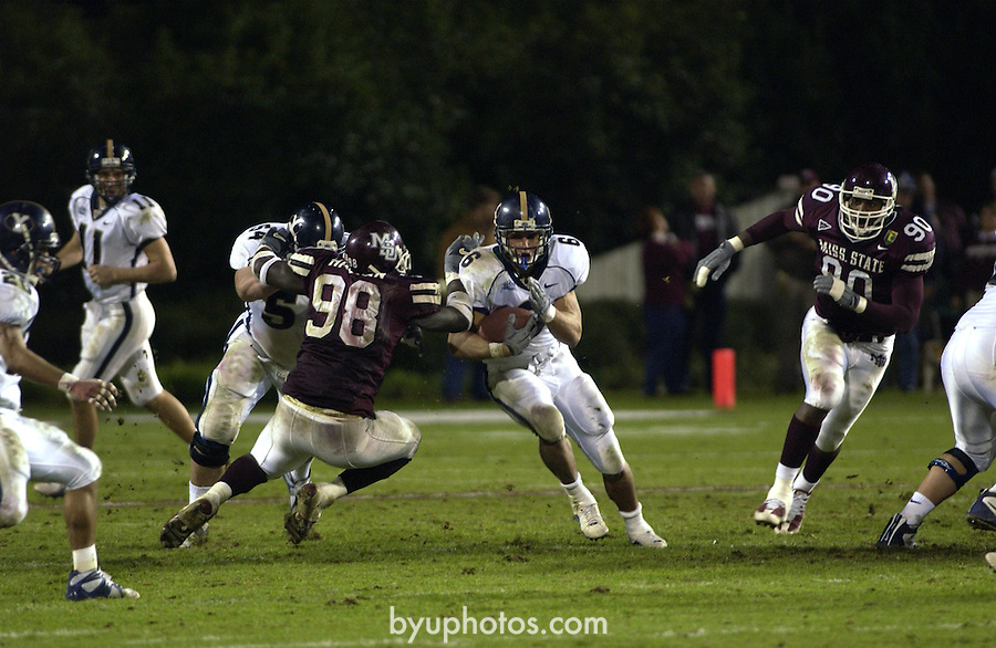 BYU football at Mississippi State<br /> December 1, 2001<br /> <br /> won 41-38<br /> <br /> 6 Luke Staley<br /> <br /> Photography by Mark A. Philbrick