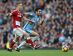 Adam Forshaw of Middlesbrough tussles with Ilkay Gundogan of Manchester City during the Premier League match at the Etihad Stadium, Manchester. Picture date: November 5th, 2016. Pic Simon Bellis/Sportimage