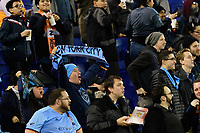 HARRISON, NJ - FEBRUARY 26: NYCFC fans celebrate during a game between AD San Carlos and NYCFC at Red Bull on February 26, 2020 in Harrison, New Jersey.