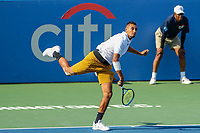 Washington, DC - August 4, 2019:  Nick Kyrgios (AUS) serves during the Citi Open ATP Singles final at William H.G. FitzGerald Tennis Center in Washington, DC  August 4, 2019.  (Photo by Elliott Brown/Media Images International)