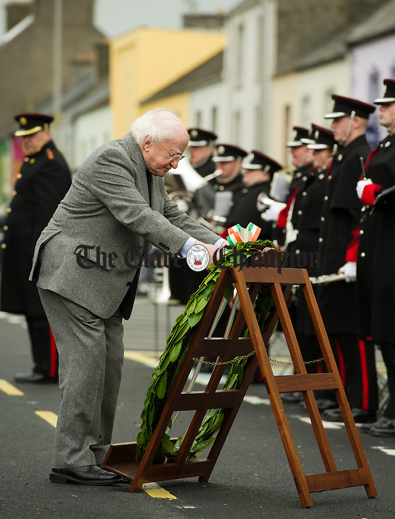 President Michael D Higgins lays a wreath during the National Famine Memorial Day Commemoration ceremony at Kilrush. Photograph by John Kelly