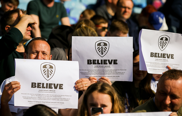 Leeds United fans keep the faith before the match<br /> <br /> Photographer Alex Dodd/CameraSport<br /> <br /> The EFL Sky Bet Championship - Leeds United v Millwall - Saturday 30th March 2019 - Elland Road - Leeds<br /> <br /> World Copyright © 2019 CameraSport. All rights reserved. 43 Linden Ave. Countesthorpe. Leicester. England. LE8 5PG - Tel: +44 (0) 116 277 4147 - admin@camerasport.com - www.camerasport.com