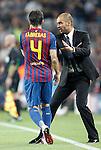 Barcelona's Josep Guardiola and Cesc Fabregas during Champions League match on september 13th 2011...Photo: Cesar Cebolla / ALFAQUI