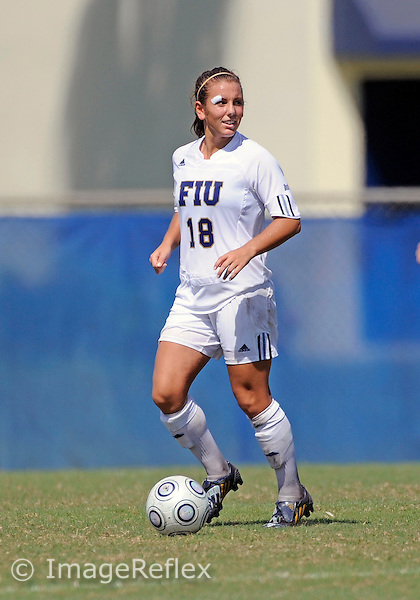 Florida International University women's soccer player Victoria Miliucci (18) plays against the University of Louisiana Monroe on October 11, 2009 at Miami, Florida. FIU won the game 5-1. .