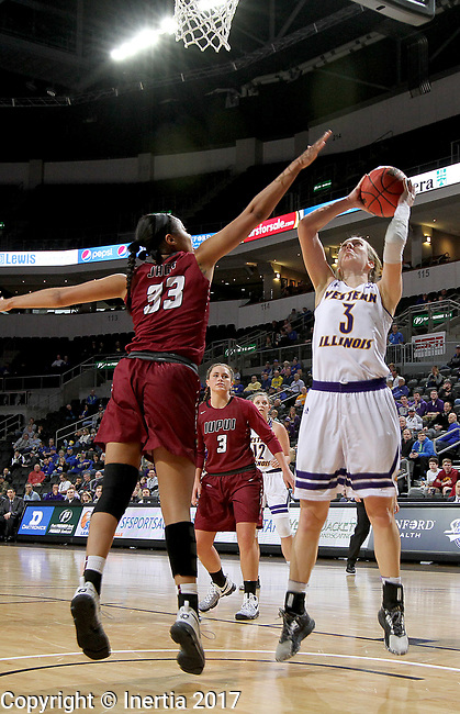 SIOUX FALLS, SD: MARCH 7: Olivia Braun #3 from Western Illinois shoots over Mikale Rogers #33 from IUPUI during the Women's Summit League Basketball Championship Game on March 7, 2017 at the Denny Sanford Premier Center in Sioux Falls, SD. (Photo by Dave Eggen/Inertia)