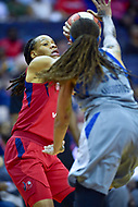 Washington, DC - May 27, 2018: Washington Mystics forward Monique Currie (25) is defended by Minnesota Lynx guard Seimone Augustus (33) during game between the Mystics and Lynx at the Capital One Arena in Washington, DC. (Photo by Phil Peters/Media Images International)