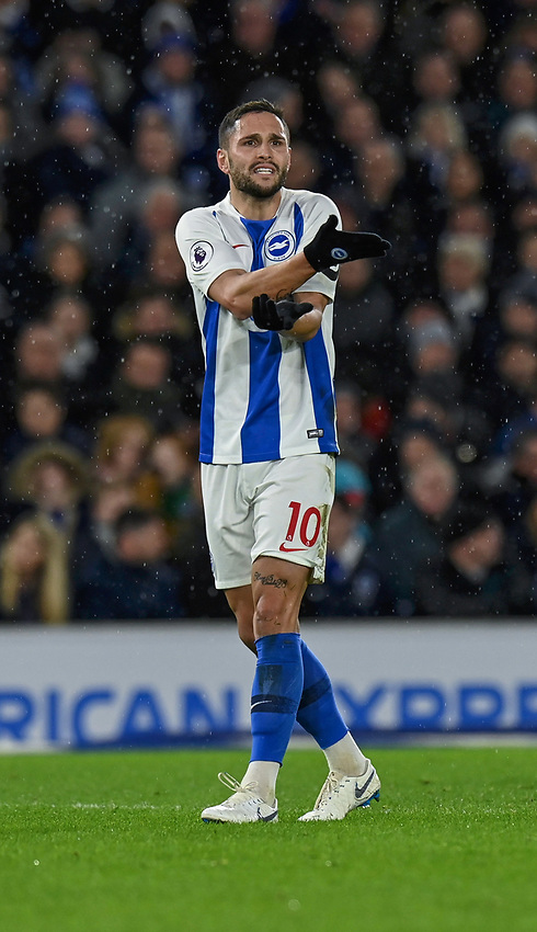 Brighton & Hove Albion's Florin Andone<br /> <br /> Photographer David Horton/CameraSport<br /> <br /> The Premier League - Brighton and Hove Albion v Liverpool - Saturday 12th January 2019 - The Amex Stadium - Brighton<br /> <br /> World Copyright © 2018 CameraSport. All rights reserved. 43 Linden Ave. Countesthorpe. Leicester. England. LE8 5PG - Tel: +44 (0) 116 277 4147 - admin@camerasport.com - www.camerasport.com