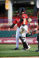 Erie SeaWolves relief pitcher Mark Ecker (25) celebrates with catcher Grayson Greiner (21) after the final out of a game against the Hartford Yard Goats on August 6, 2017 at UPMC Park in Erie, Pennsylvania.  Erie defeated Hartford 9-5.  (Mike Janes/Four Seam Images)