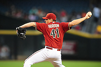 Sept. 8, 2010; Phoenix, AZ, USA; Arizona Diamondbacks pitcher Daniel Hudson against the San Francisco Giants at Chase Field. Mandatory Credit: Mark J. Rebilas-