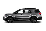 Car driver side profile view of a 2019 Ford Explorer XLT 5 Door SUV