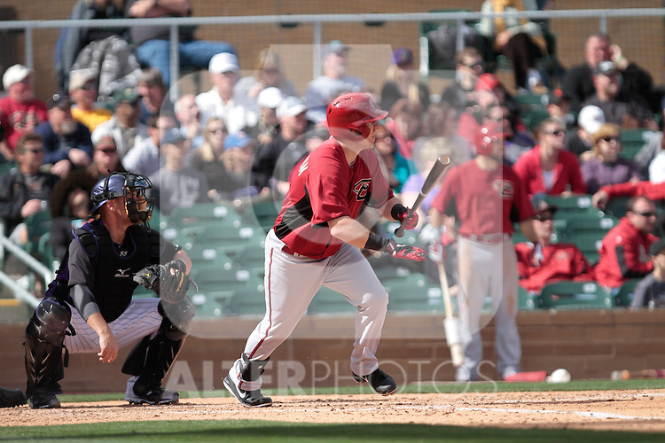 Cliff Pennington  of Diamondbacks ,during   Colorado Rockies vs Arizona Diamondbacks, game of  Cactus league and Spring Trainig 2013..Salt River Fields stadium in Arizona. February 24, 2013