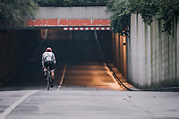 Fabio Felline (ITA/Trek-Segafredo) returning through a tunnel to the team buses after finishing the opening TT<br /> <br /> 104th Tour de France 2017<br /> Stage 1 (ITT) - Düsseldorf › Düsseldorf (14km)